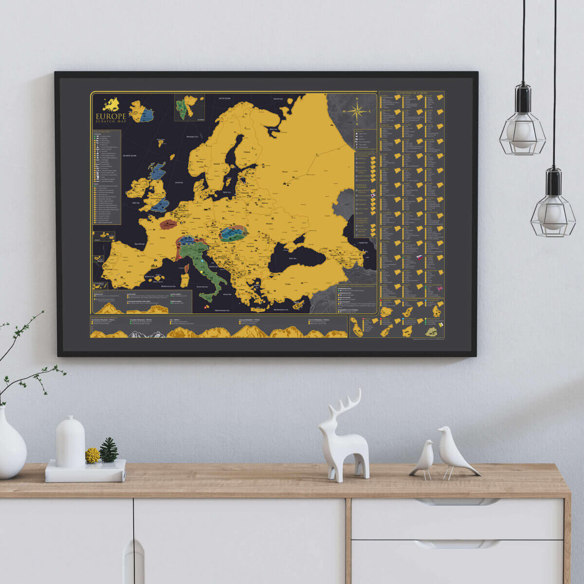 Scratch Map of Europe - on a wall