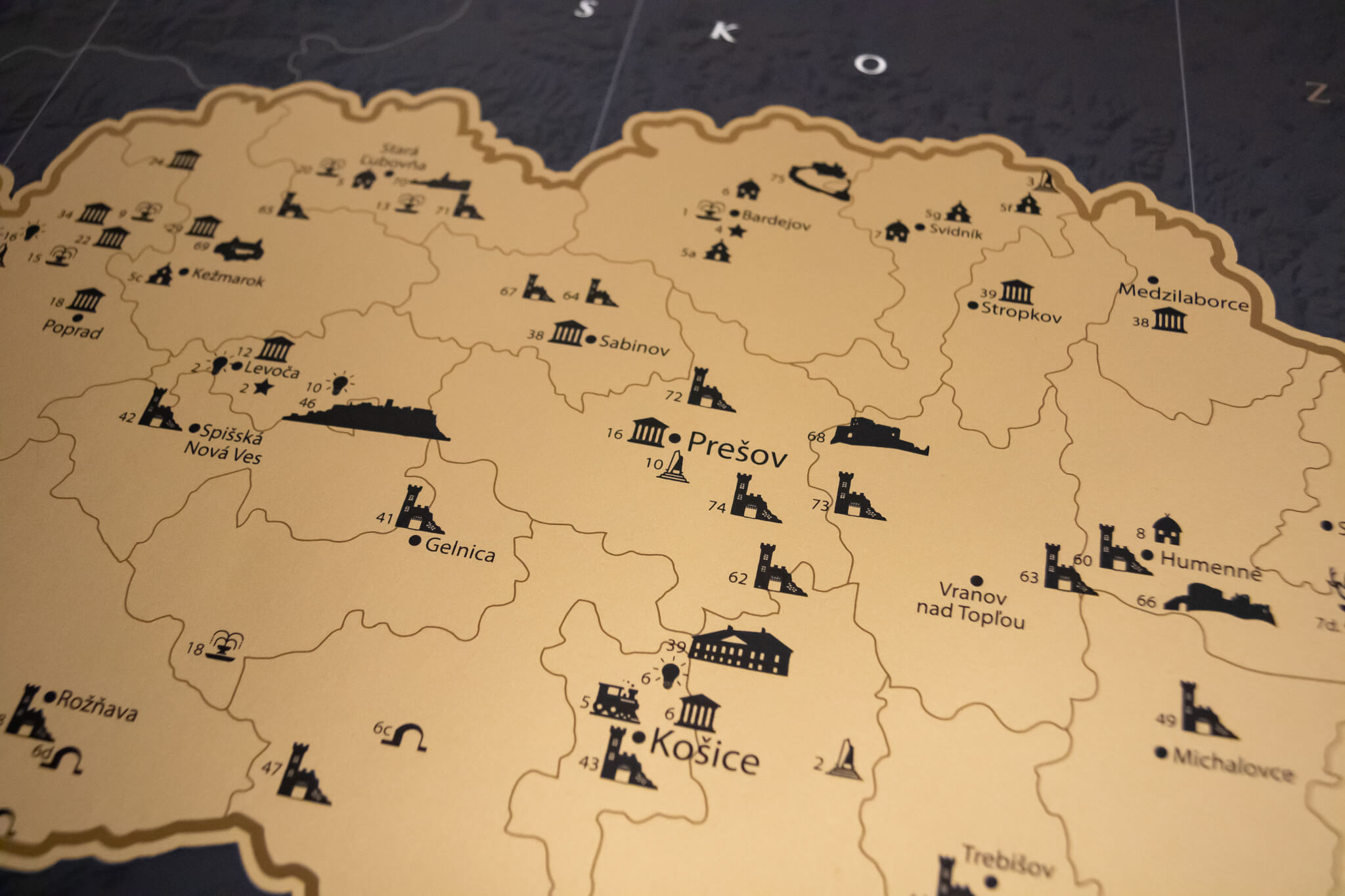 Mapa para raspar de Eslovaquia - Detalle del mapa