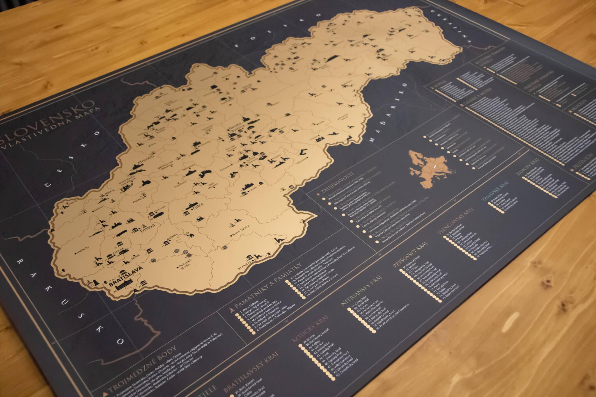 Mapa para raspar de Eslovaquia - Vista del mapa completo