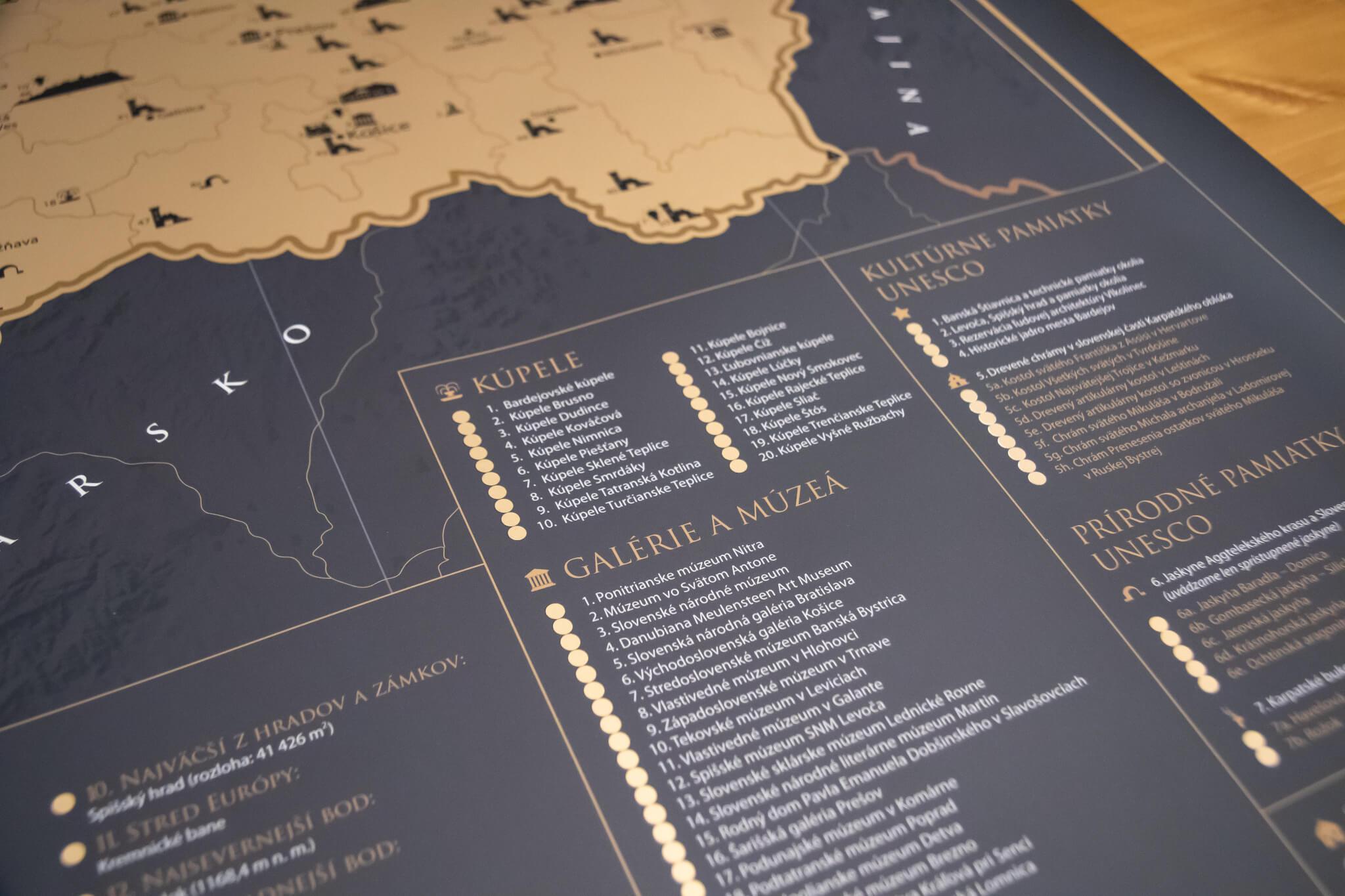 Mapa para raspar de Eslovaquia - Detalle de las secciones