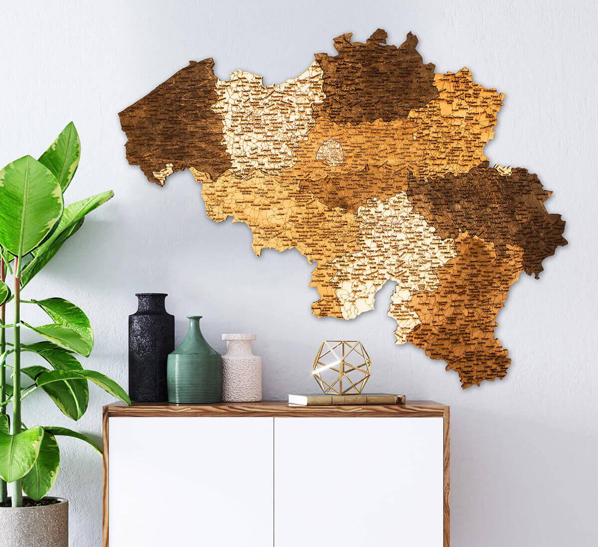 Mapa de madera de Bélgica
