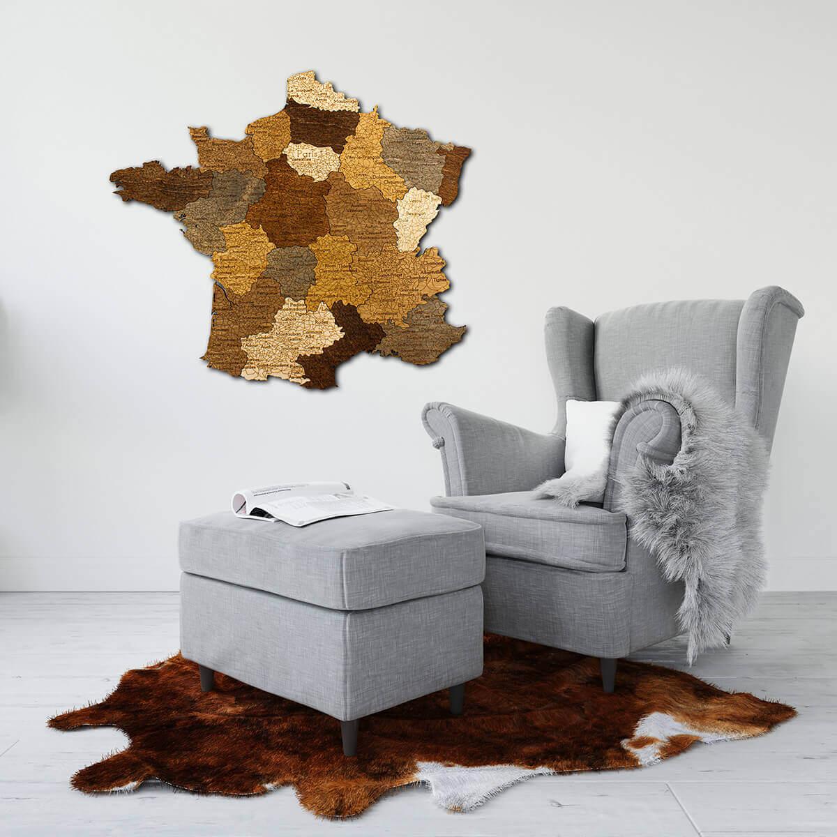Mapa de madera de Francia