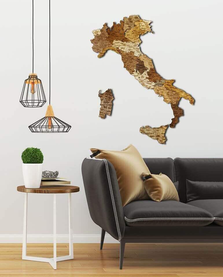 Mapa de madera de Italia