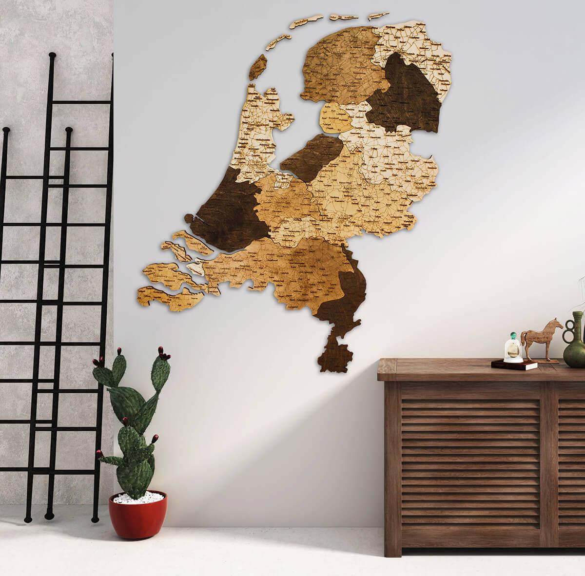 Mapa de madera de los Países Bajos