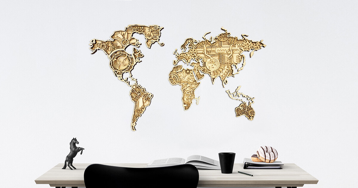 Industrial Wooden Map of the World - wall mounted