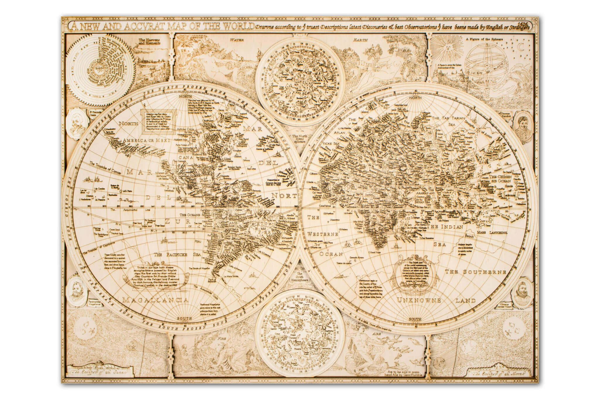 Mapa del mundo histórico de madera - todos los detalles