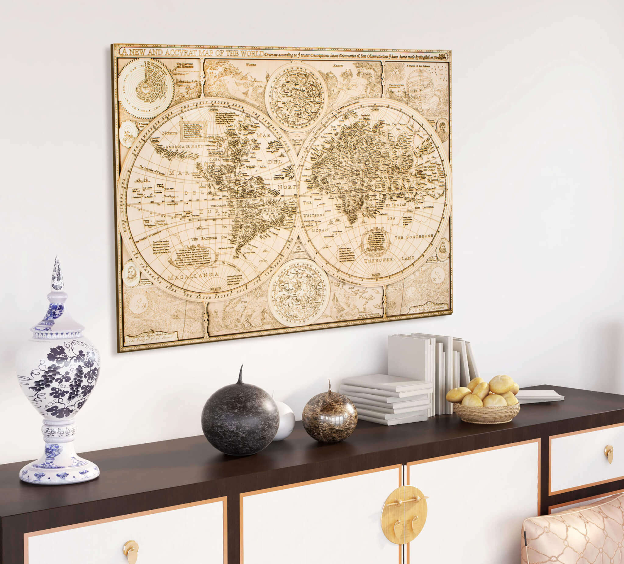 Mapa del mundo histórico de madera - desde 1626
