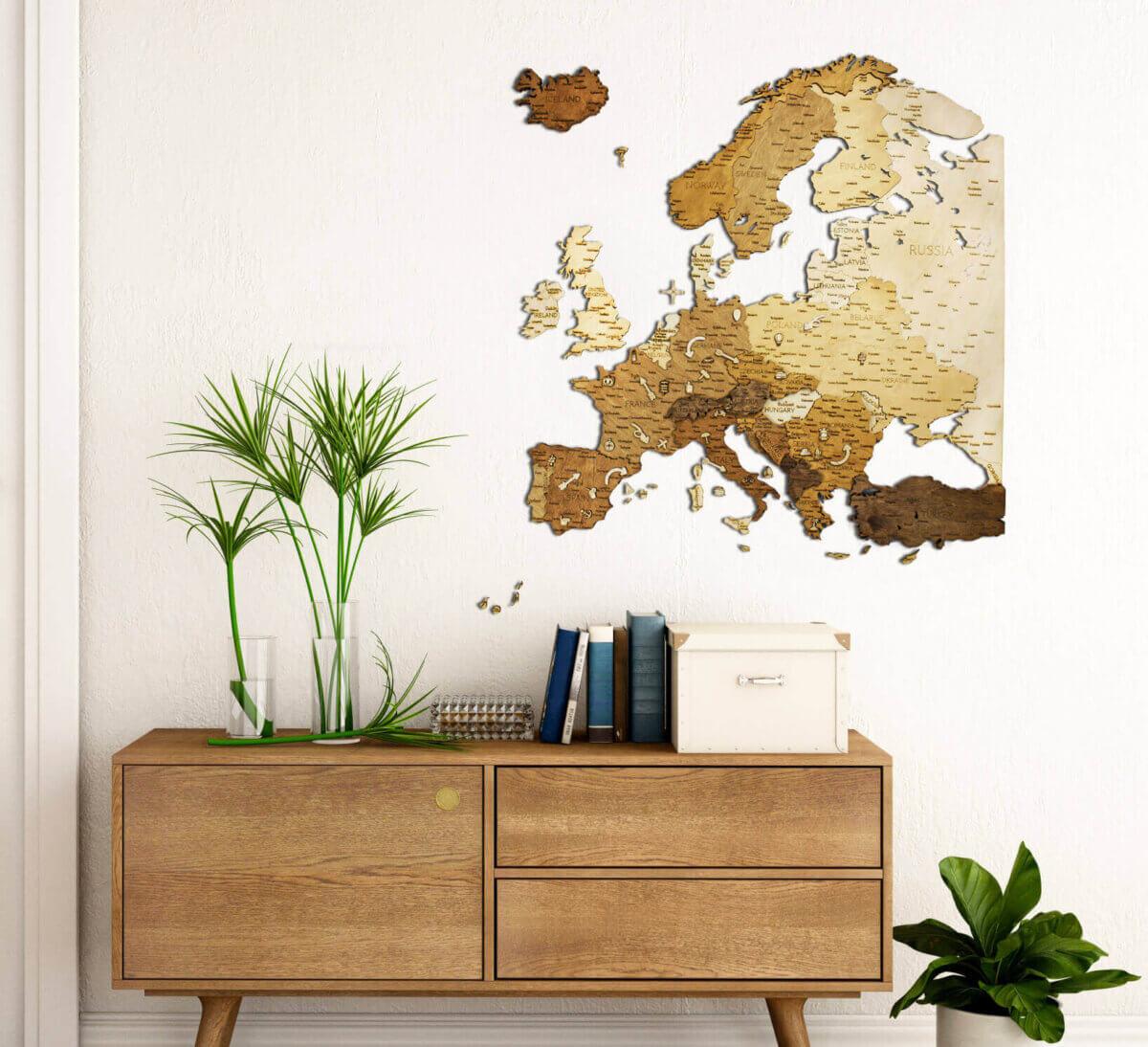 Mapa de madera de Europa - decoración de paredes