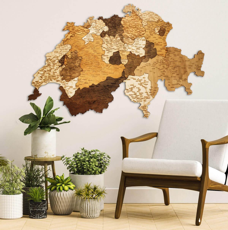 Wooden Map of Switzerland