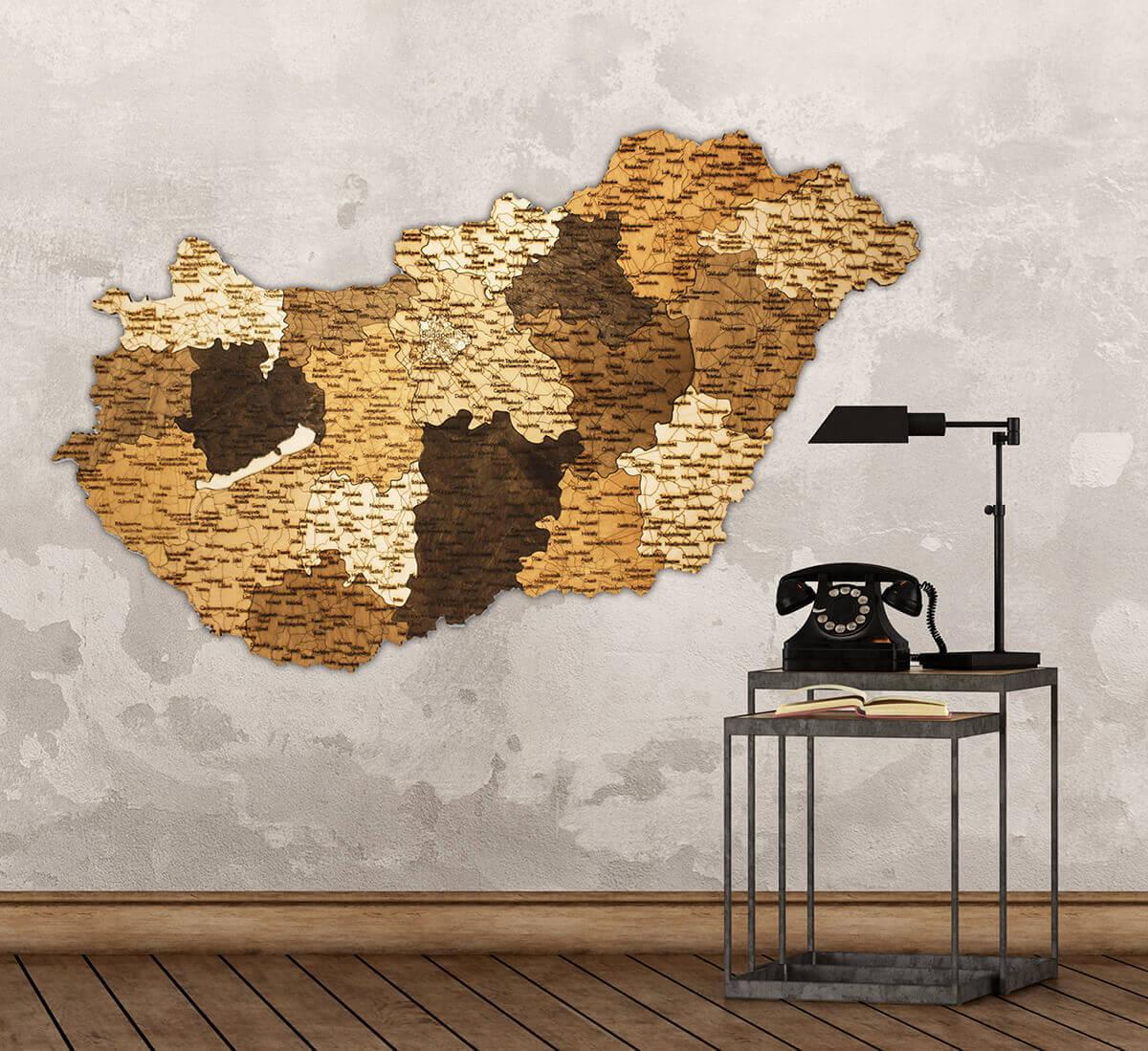 Mapa de madera de Hungría