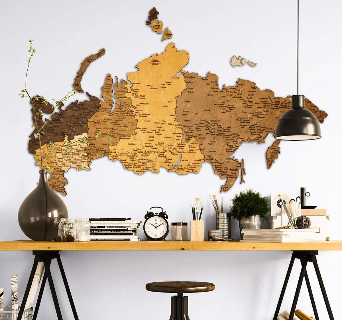 Mapa de madera de Rusia