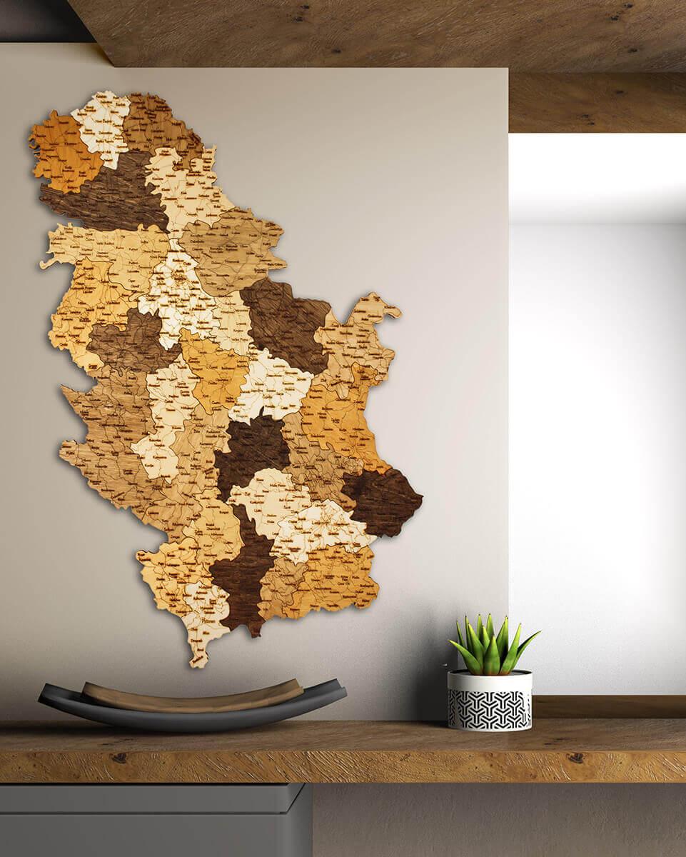 Mapa de madera de Serbia