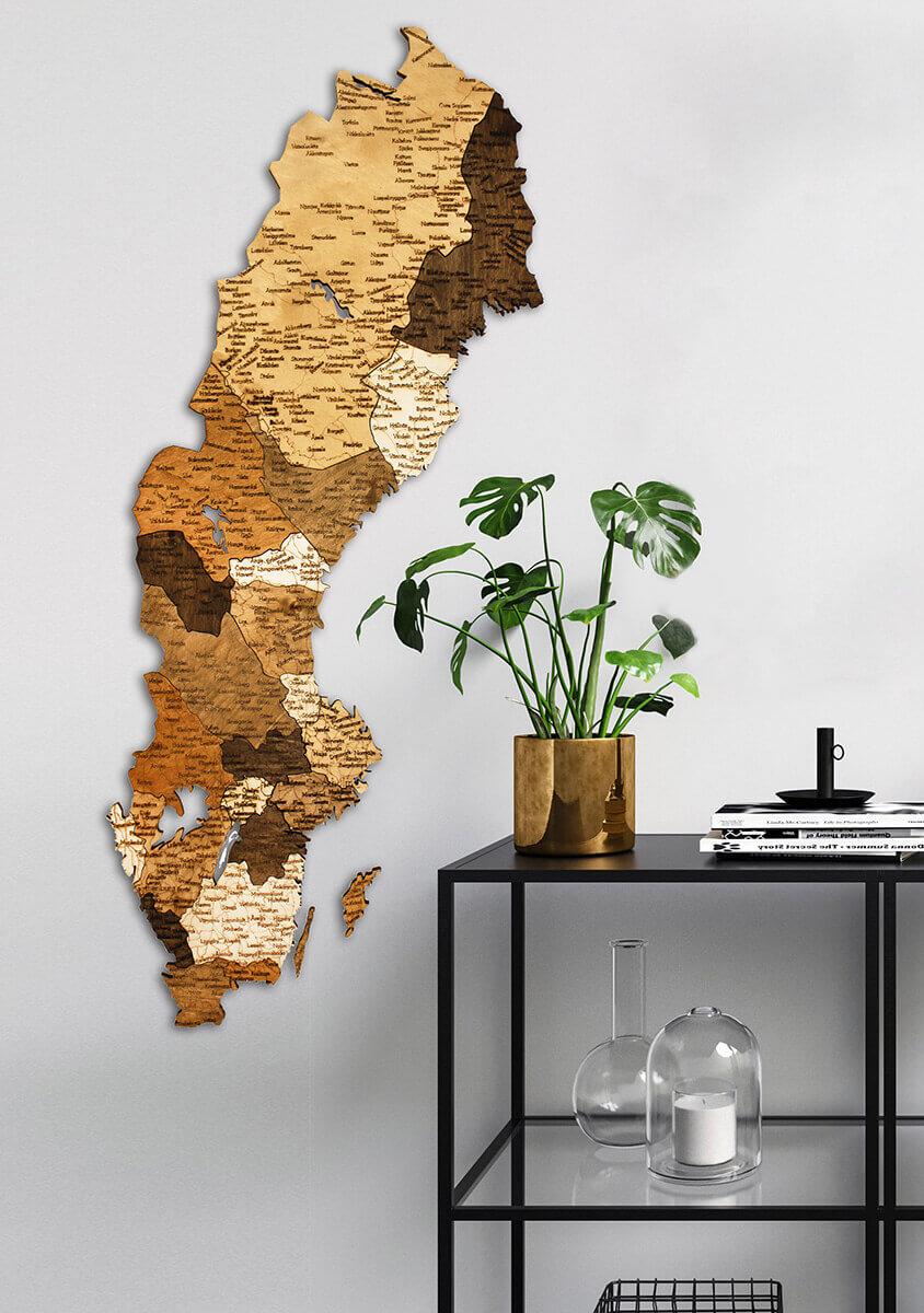 Mapa de madera de Suecia