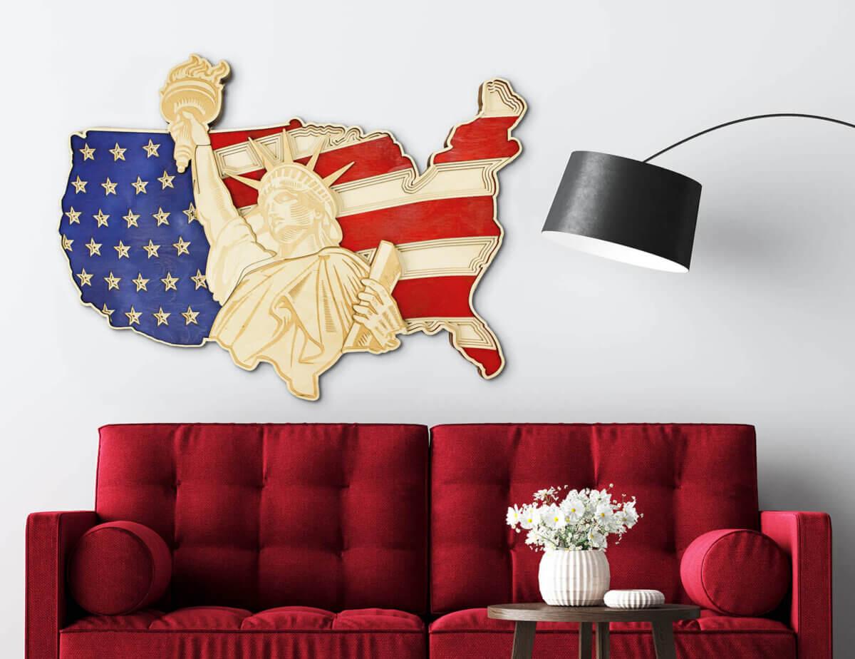 Estatua de la Libertad y mapa de EE. UU.