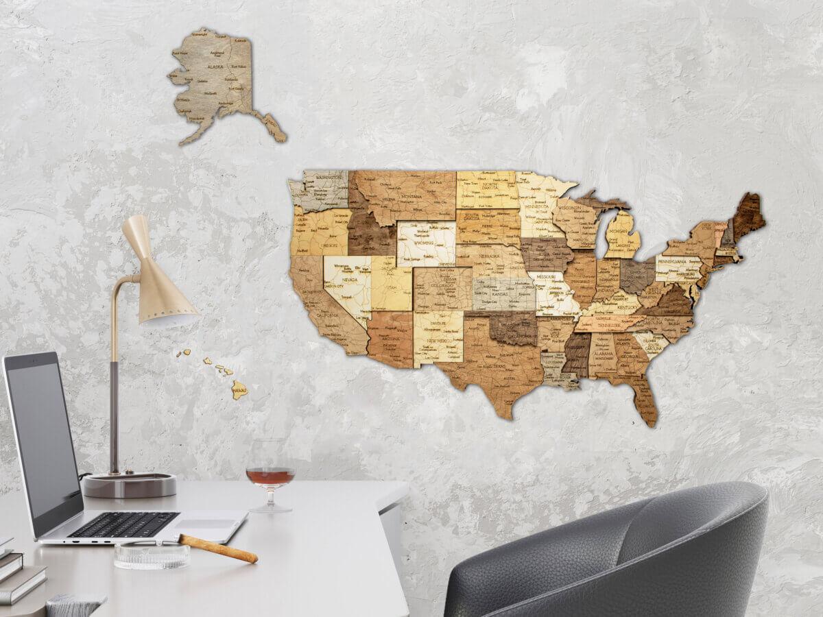 Mapa de madera de Estados Unidos